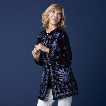 Holiday Party Style Pretty & Polished - 739-510 Indigo Moon Woven Velvet Embroidered & Sequin Embellished Button-up Jacket
