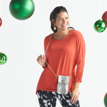 Holiday Fashion Fest Presale Shop Early & Save Big  740-546 Slimming Options for Kate & Mallory® Stretch Knit Seam Detailed Pull-on Leggings, 744-532 - Mellow World Shiro Snake Embossed Turnlock Phone Clutch w Removable Strap,  750-219 Kate & Mallory® Stretch Knit 34 Sleeve Hi-Lo Tunic w Attached Tank Top
