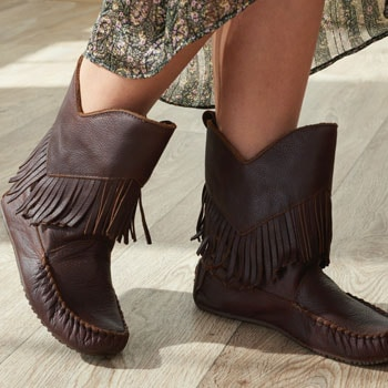 Boot Shoppe Step Out In Style  744-508 Manitobah Mukluks Okotoks Suede Leather Fringe Detailed Mid-Calf Boots
