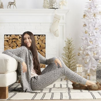 Slippers & Sleepwear Cozy Gift Ideas  745-408 Theo & Spence Brushed Hacci Knit Drawstring Waist Tapered Yummy Joggers