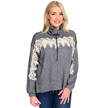 Deals Under $20 - 739-903 OSO Casuals® Knit Long Sleeve Convertible Collar Raw Edge Hem Lace Detailed Sweater