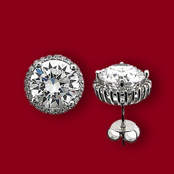 Jewelry Under $50 For That Special Stylish Someone - 159-249 Brilliante® Sterling Silver 7.48 DEW Simulated Diamond Round Halo Earrings