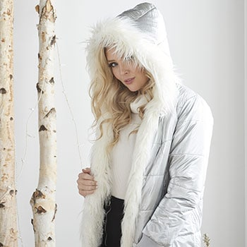 Outerwear 751-071 Donna Salyers' Fabulous-Furs Metallic Silver Faux Fur Trimmed Hooded Puffer Coat