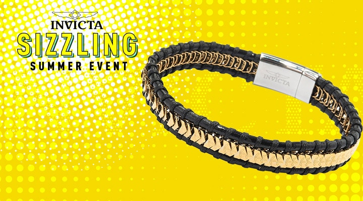682-503 - New Arrivals Invicta Jewelry Men's Choice of Size Stainless Steel & Leather Bracelet