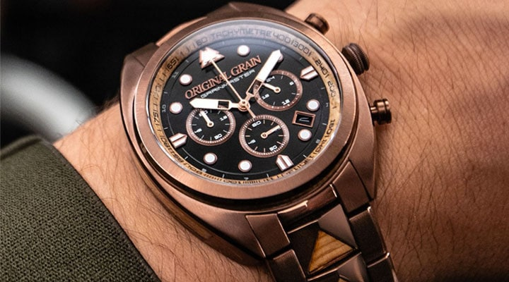 684-507 - New Arrivals Original Grain 45mm Grainmaster Quartz Chronograph Wood & Steel Bracelet Watch