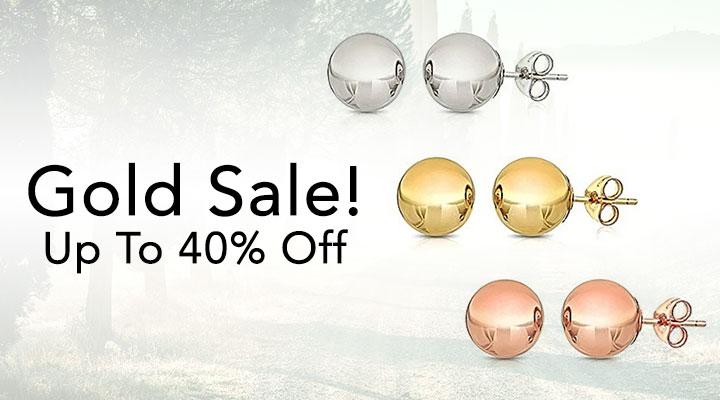 184-193 -  Italian Gold 14K Gold Choice of Size Ball Stud Earrings