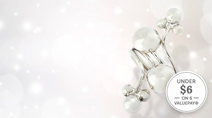 185-225 - Dominique Dinouart Designs Sterling Silver Multi Ball Elongated Ring, 9 grams