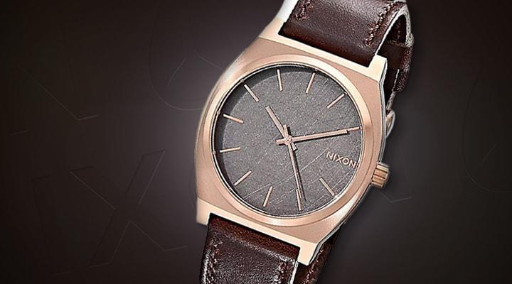 685-268 - Nixon Time Teller 37mm Quartz Brown Leather Strap Watch