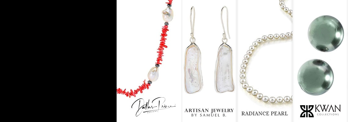 179-552 Dallas Prince Sterling Silver 24 or 36 13-15mm Cultured Pearl, Bamboo Coral & Hematite Necklace,  171-332 Artisan Silver by Samuel B. 1.75 25 x 12mm Freeform Cultured Pearl Earrings,  122-876 Radiance Pearl 16-18 AAA Quality 7.0-7.5mm Japanese Akoya Cultured Pearl Strand Necklace,  190-072 Kwan Collections Sterling Silver Cultured Tahitian Pearl Stud Earrings
