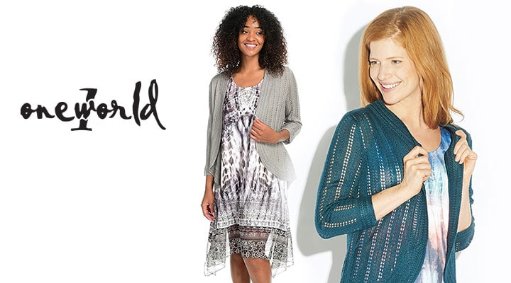 746-673 - One World Micro Jersey Printed Knit Chiffon Overlay Dress & Pointelle Open Cardigan Set