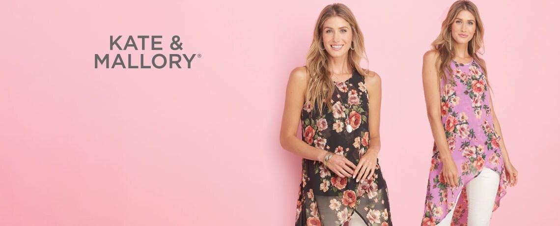746-540 -TDO Kate & Mallory® Printed Chiffon Sleeveless Hi-Lo Overlay Top & Knit Tank Set