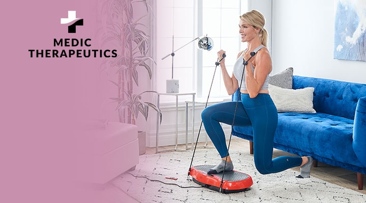002-701 - Medic Therapeutics Vibrating Fitness Platform w Resistance Bands & Remote