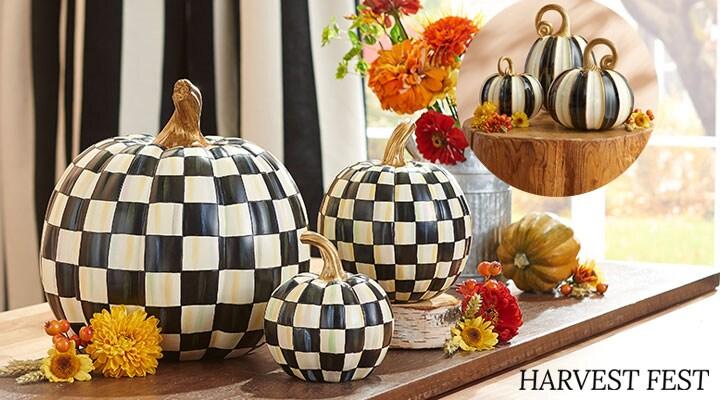 490-953 MacKenzie Childs Set of 3 Hand-Painted Elegant Striped Pumpkins