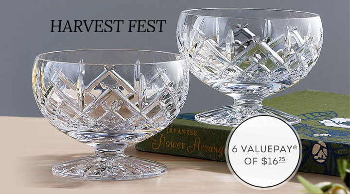 482-076 Waterford Crystal Princess Set of 2 (4) Footed Serving Bowls