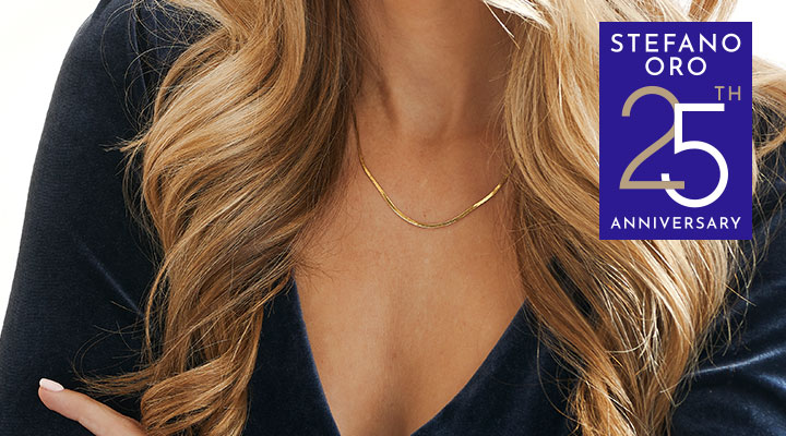 192-260 -  STEFANO ORO 14KY DC HERRINGBONE CHOICE OF LENGTH CHAIN NECKLACE