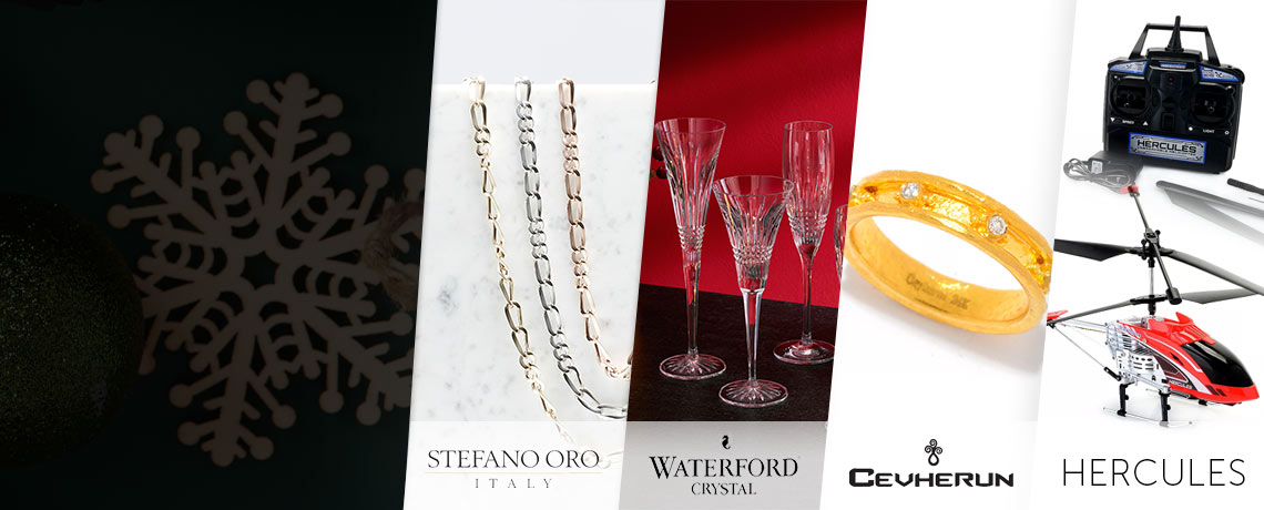 191-692 Stefano Oro Tre + Tre Choice of Length Figaro Link Necklace,   499-275 Waterford Crystal Set of 6 Lismore Diamond Tasting Flutes, 181-704 Cevherun 24K Gold 0.16ctw Diamond Eternity Band Ring,  453-222 Hercules Ultra Durable RC Helicopter w Wireless Control & LED Lights