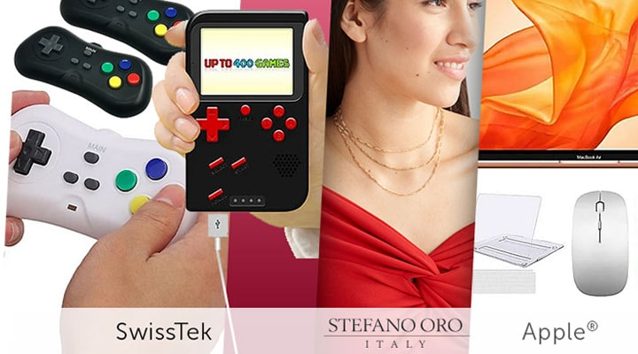 499-176 SwissTek Retro Plug & Play System w 638 Games & 2 Controllers,  499-177 SwissTek Retro Go! Portable Gaming Console w 400 Games,  494-027 Apple® 13.3 MacBook Air (2020) w Accessories, Software Voucher & Tech Support,  193-285 Stefano Oro 14K Gold Femme Figaro Choice of Length Chain Necklace