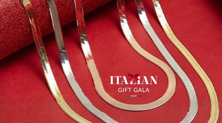 193-709 - TTV Toscana Italiana 18K Gold or Platinum Embraced Herringbone Chain Choice of Length Necklace