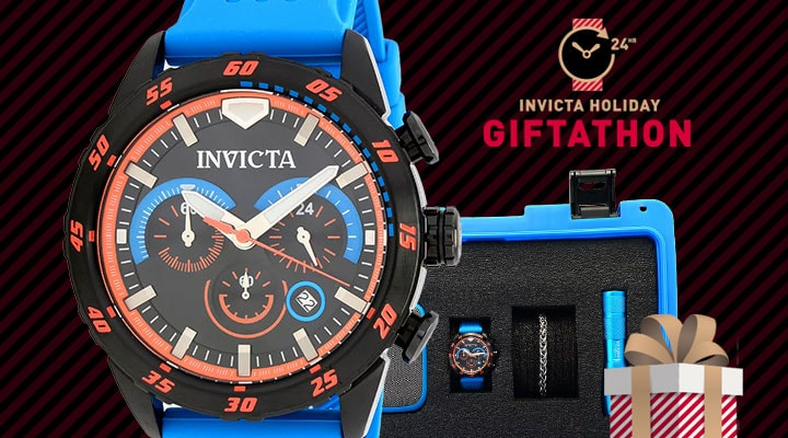 684-824 - TTV Invicta S1 Rally Quartz Chronograph watch w Bracelet, flashlight & Speaker packaged in 8 slot dive case