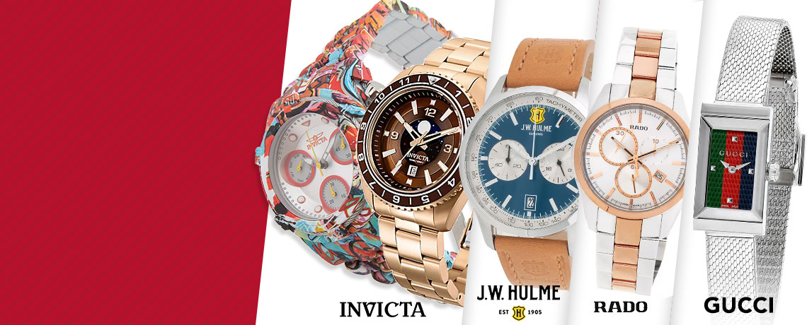 676-020 Invicta 42mm or 52mm Bolt Zeus Graffiti Quartz Chronograph Hydroplated Bracelet Watch,  681-701 Invicta 42mm Pro Diver Quartz Moonphase Stainless Steel Bracelet Watch,  671-147 Rado 41mm HyperChrome Swiss Made Quartz Chronograph Stainless Steel Bracelet Watch, 685-964 J.W. Hulme 43mm Quartz Multi Function Leather Strap Watch, 668-966 Gucci Women's Rectangular G-Frame Quartz Stainless Steel Bracelet Watch