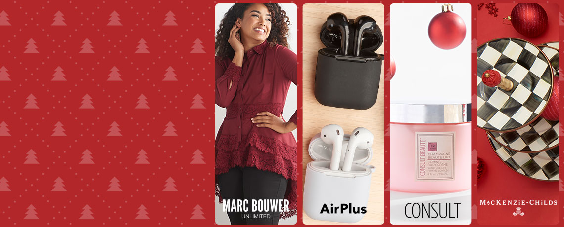 740-383 Marc Bouwer Woven Long Sleeve Lace Detailed Button Front Tiered Hi-Lo Top,  497-084 AirPlus Xtream 1 or 3 Pack True Wireless Noise Cancelling Earphones w Charging Case,  313-723 Consult Beaute Champagne Beaute Lift Firming Body Creme 8 oz Choice of Scent,  490-978 MacKenzie-Childs Choice of Pattern 3-Tier Sweet Stand w Set of 4 Canape Plates