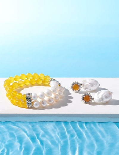 Dallas Prince Designs Give Your Look a Vintage Edge, 188-456 Dallas Prince 6 or 7 Yellow Agate & Freshwater Cultured Pearl Beaded Bracelet