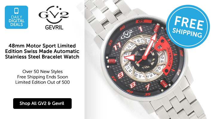 679-020 - DDD GV2 by Gevril 48mm Motor Sport Limited Edition Swiss Made Automatic Stainless Steel Bracelet Watch