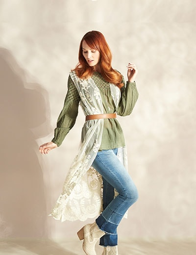 Spring Fashion Preview Encore at ShopHQ 746-759 Indigo Thread Co.™ Embroidered Mesh Open Front Scalloped Hem Duster Vest