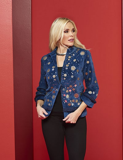 Hand-Embellished & New Spring Styles up to 50% Off -  744-416 Indigo Moon Velveteen Stand Collar Trimmed & Embellished Snap Front Jacket
