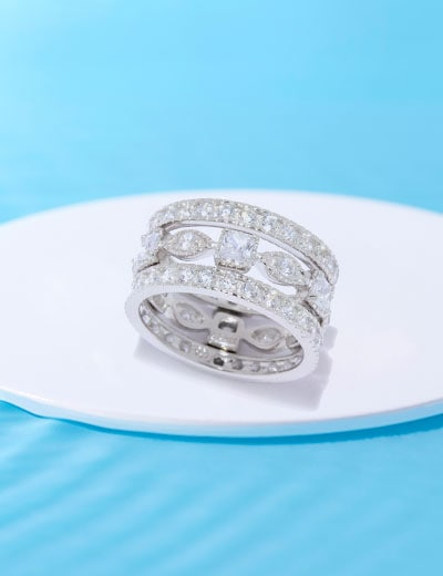Victoria Wieck Collection Luxury That's Easy to Afford - 187-542 Victoria Wieck for Brilliante® Set of (3) 2.82 DEW Simulated Diamond Stack Band Rings
