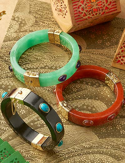 Time Honored Design up to 30% Off  - 177-665 Kwan Collections 14K Gold Embraced™ 6.75 or 7.25 Gemstone Cabochon & Jade Bangle Bracelet