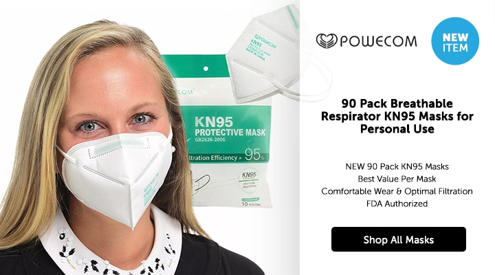 NEW ITEM - 003-065 Powecom 90 Pack Breathable Respirator KN95 Masks for Personal Use