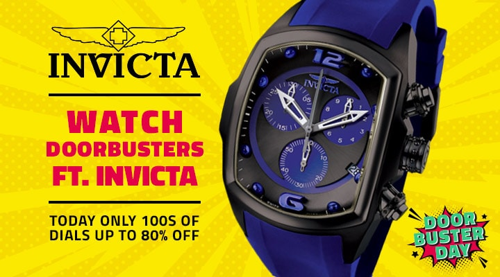 Watch Doorbusters Ft. Invicta Today Only 100s of Dials Up to 80% Off - 683-897 Invicta Men's 47mm Lupah Revolution Quartz Chronograph Strap Watch