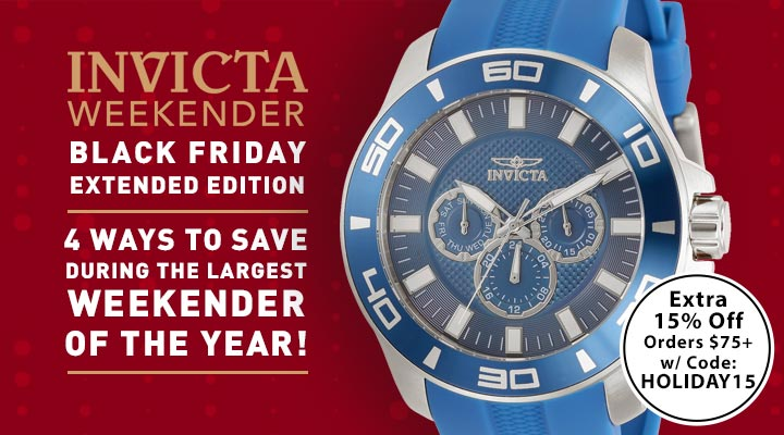 678-797 Invicta Men's 47mm Pro Diver Quartz Silver-Tone Case Multi-Function Blue Silicone Strap Watch Invicta Weekender: Black Friday Extended Edition  4 Ways To Save During The Largest Weekender Of The Year!