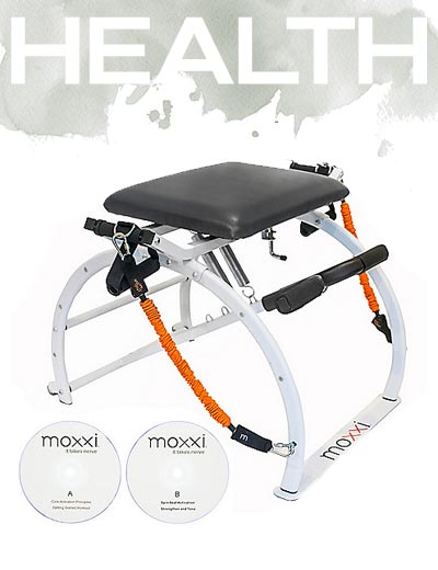 Fitness Featuring Moxxi Home Pilates at ShopHQ 002-577 Moxxi Pilates Chair w Resistance Bands & Workout DVDs