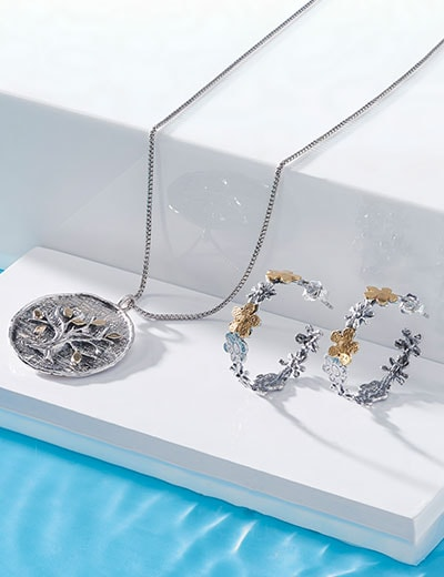 UP TO 40% OFF - Passage to Israel The Heart & Soul of the Holy Land - 185-306 Passage to Israel™ 1 Textured Flower Hoop Earrings, 189-262 Passage to Israel™ Sterling Silver & 14K Gold Accented Tree of Life Pendant, 13.4 grams