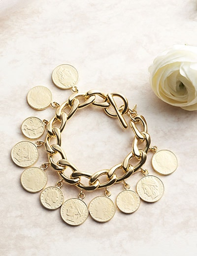 First Class Italian Jewelry Featuring Toscana Italiana - 182-297 Toscana Italiana 18K Gold Embraced™ 7.75 Genuine Lire Coins Curb Link Toggle Bracelet