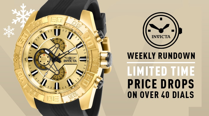Invicta Weekly Rundown Limited Time Price Drops on Over 40 Dials 668-013 Invicta Men's 50mm Pro Diver Quartz Chronograph Gold-tone Dial Black Silicone Strap Watch