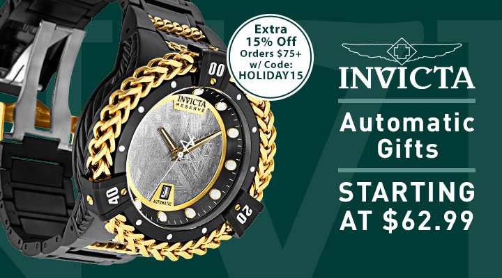 Invicta Automatic Gifts Starting at $62.99 682-211 Invicta Bolt Herc Reserve Men's 56mm Automatic Meteorite Dial Bracelet Watch