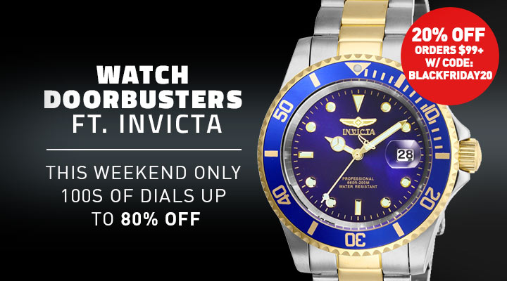 Watch Doorbusters Ft. Invicta This Weekend Only 100s of Dials Up to 80% Off - Extra 20% Off Orders $99+ w Code: BLACKFRIDAY20  661-518 Invicta 40mm Pro Diver Quartz Magnified Date Window Stainless Steel Bracelet Watch