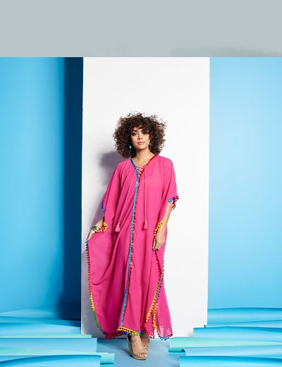 Summer Vacation Style Featuring Fig & Vine at shopHQ 746-246 Fig & Vine Chiffon Pom Pom & Tape Trimmed Lace-up Tie-Neck Caftan
