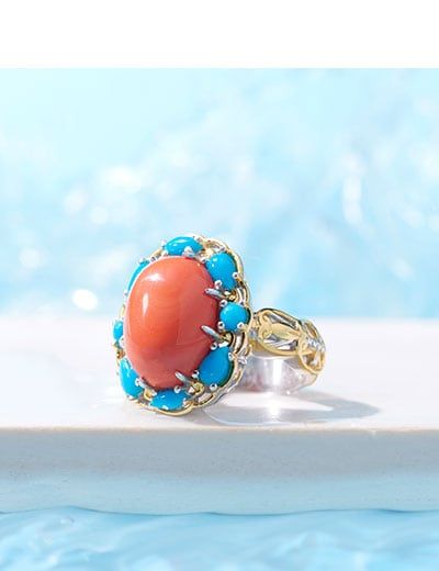 UP TO 40% OFF Colorful Coral Featuring Gems en Vogue at ShopHQ 189-356 Gems en Vogue 16 x 12mm Salmon Coral & Sleeping Beauty Turquoise Halo Ring
