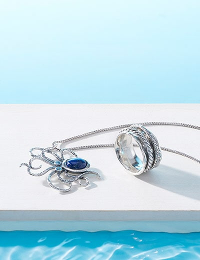Stunning Sterling Silver Featuring Passage to Israel -  UP TO 40% OFF - 189-273 Passage to Israel™ Sterling Silver Lapis & Blue Topaz Octopus Pendant w 18 Chain, 189-265 Passage to Israel™ Sterling Silver Wave Design Double Spinner Ring, 8.3 grams
