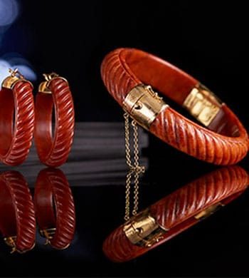 Kwan Collections New Items & Returning Favorites -  156-620 Kwan Collections 14K Gold Embraced™ 7 or 7.25 Hand-Carved Burmese Jade Bangle Bracelet