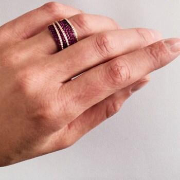 Web Exclusive EFFY Luxury Looks on Sale - 155-796 EFFY Precious 14K Gold Round Gemstone & Diamond Crossover Wide Band Ring