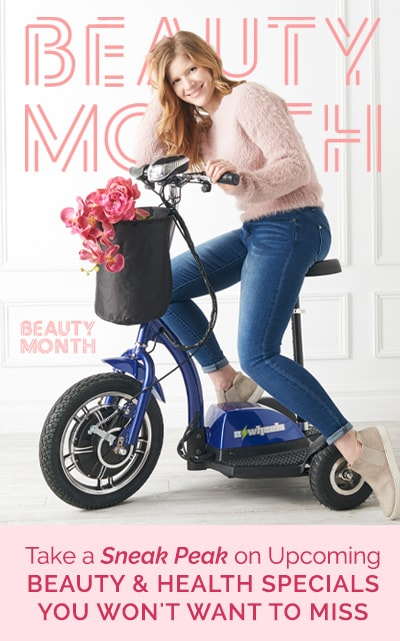 Beauty & Health Month Sneak Peek - 498-186 498-186 EWheels 3-Wheel 15 mph Max Speed Sit & Stand Electric Scooter w Basket