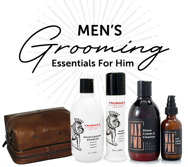Men's Grooming Essentials For Him - 722-765 Dopp Veneto Men's Leather Zip Travel Set, 316-205 Truman's Moisturizing Shampoo & Hair Styling Paste Duo, 316-249 ISOMERS Skincare Men's MAX PWR 2-Piece Essential Starter Kit