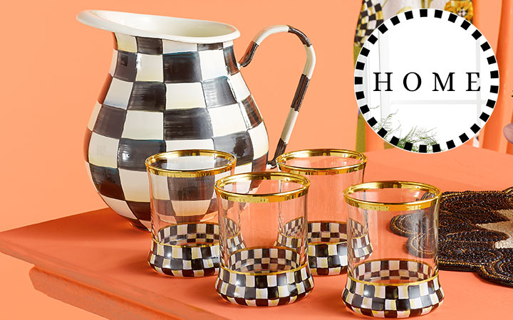Shop All MacKenzie-Childs Home  488-728 MacKenzie-Childs 5pc Hand-Painted Summertime Pitcher & Tumblers Drink Set
