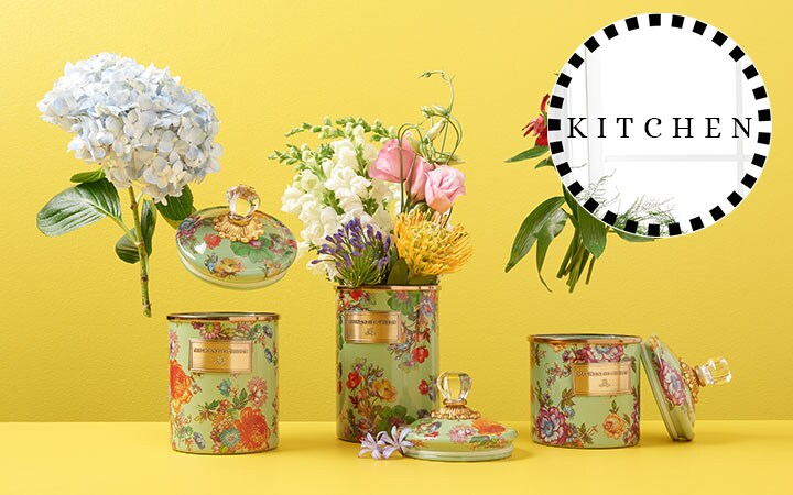 Shop All MacKenzie-Childs Kitchen  467-969 MacKenzie-Childs Set of 3 Hand-Decorated Enamelware Covered Canisters