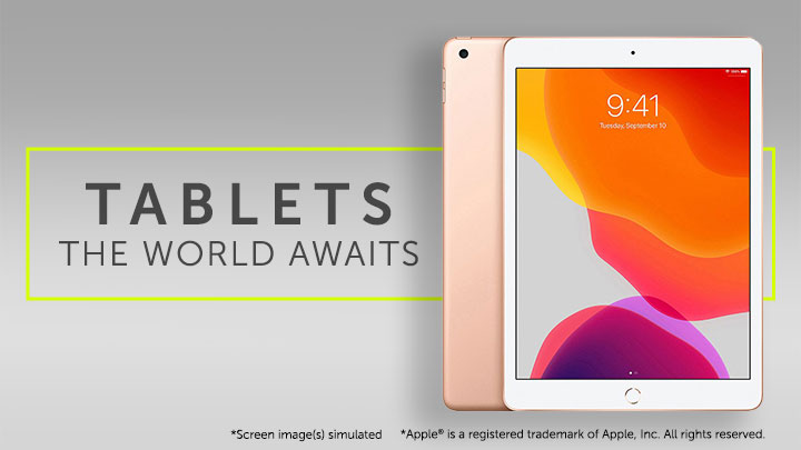 Tablets The World Awaits 489-193 Apple® iPad 7th Gen 10.2 32GB or 128GB w Wireless Keyboard & Accessories